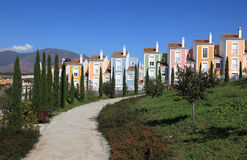 Colorful apartment houses, Spain Royalty Free Stock Photo