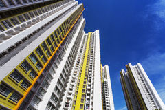 Colorful Apartment. A low angle shot of a new colorful high rise apartment against the sky Royalty Free Stock Image