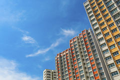 Colorful Apartment. A low angle shot of a new colorful high rise apartment against the sky Royalty Free Stock Photo