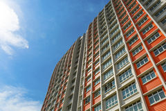 Colorful Apartment. A low angle shot of a new colorful high rise apartment against the sky Stock Images