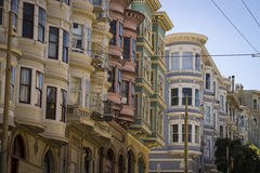 Colorful apartments in San Francisco, California Stock Photos