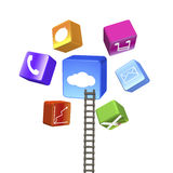 Colorful app blocks with wooden ladder Stock Photography