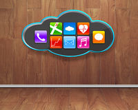 Colorful app icons on black cloud with wooden interior backgroun Stock Photo