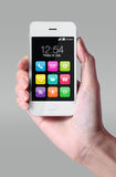 Colorful app icons showing on smartphone. Royalty Free Stock Images