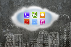 Colorful app icons on white cloud with buildings doodles wall Stock Photos