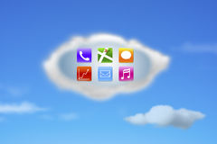 Colorful app icons on white cloud with nature blue sky Royalty Free Stock Photos