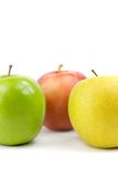 Colorful apples. Green, yellow and red apple on white background Stock Images