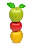 Colorful apples with green leaf Stock Photo
