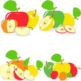 Colorful apples slices, collection of  illustrations Royalty Free Stock Photo