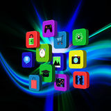 Colorful application on abstract background Stock Images