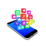 Colorful  application  icon  on smartphone,cell phone illustration Stock Photo