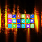 Colorful application icon on  technology background Royalty Free Stock Photos