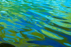 Vibrant multi colored ripples and waves of water with shades of blue, aqua and bright green, background, abstract stock photo