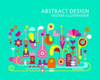 Abstract Design vector background. Colorful on an aquamarine background Abstract Design vector artwork with text Stock Images