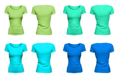 Colorful aquamarine T-Shirts. Isolated blank T-Shirts with hollow effect on white background; front and back Stock Photo