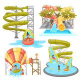 Colorful Aquapark Set. Of various water tubes and slides with children in flat style isolated vector illustration Stock Photography