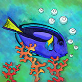 Colorful Aquarium Fish. Fish in aquarium. Bright colorful watercolor illustration Royalty Free Stock Photos