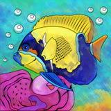 Colorful Aquarium Fish. Fish in aquarium. Bright colorful watercolor illustration Stock Images