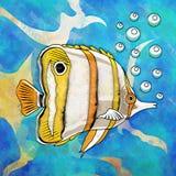 Colorful Aquarium Fish. Fish in aquarium. Bright colorful watercolor illustration Royalty Free Stock Photography