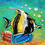 Colorful Aquarium Fish. Fish in aquarium. Bright colorful watercolor illustration Royalty Free Stock Images