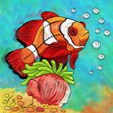 Colorful Aquarium Fish. Fish in aquarium. Bright colorful watercolor illustration Royalty Free Stock Photo
