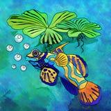 Colorful Aquarium Fish. Fish in aquarium. Bright colorful watercolor illustration Stock Photo