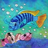 Colorful Aquarium Fish. Fish in aquarium. Bright colorful watercolor illustration Stock Photos