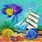 Colorful Aquarium Fishes Stock Photography