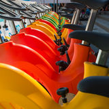 Colorful Aquatic bikes in Line, Designated for Swimming Pool Royalty Free Stock Photo
