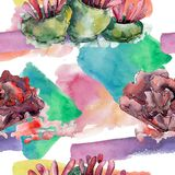 Colorful aquatic underwater nature coral reef. Watercolor illustration set. Seamless background pattern. Colorful aquatic underwater nature coral reef royalty free illustration