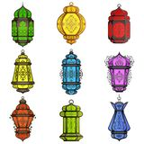 Colorful Arabic lamp. Vector illustration of colorful Arabic lamp for Eid celebration Royalty Free Stock Photos