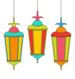 Colorful Arabic Lamps for Ramadan Kareem Stock Images