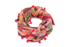 Colorful arabic scarf isolated on white background. The colorful arabic scarf isolated on white background Stock Photo