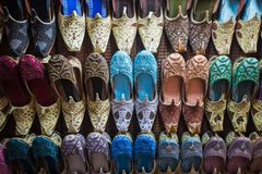 Colorful arabic shoes. In Souk Dubai, United Arab Emirates Stock Photography