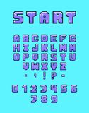 Colorful Arcade Font. Pixel art style alphabet with the inscription of start. Letters, numbers and punctuation marks in retro style. Font for computer games and royalty free illustration