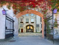 Colorful arch and medieval gate in old European city Royalty Free Stock Image