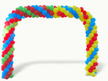 Colorful arch of red blue yellow green balloons isolated over wh Stock Photo