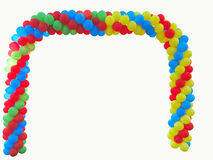 Colorful arch of red blue yellow green balloons isolated over wh Royalty Free Stock Photo
