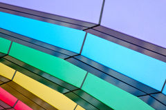 Colorful arched bridge. Purple, blue, green, yellow, red arched bridge Royalty Free Stock Image