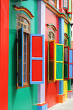 Colorful Architecture. Colorful windows and details on a colonial house in Little India, Singapore. Full of color, this picture has green, red, blue, yellow and royalty free stock image