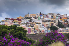 Colorful architecture of Barrio San Juan in Las Palmas. Las Palmas, Gran Canaria, Spain royalty free stock image
