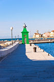 Colorful  architecture details at Piran harbor, Istria Royalty Free Stock Photos