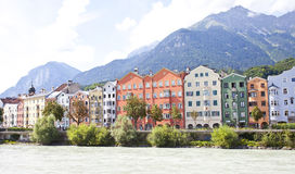 Colorful architecture of houses of Innsbruck, Austria. Innsbruck is the capital city of the Royalty Free Stock Photo