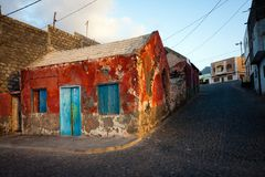 Colorful architecture old house, Cape Verde, Santo Antao Royalty Free Stock Images