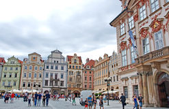 Colorful architecture at the Old Town Square in Prague Stock Photo