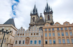 Colorful architecture at the Old Town Square in Prague Royalty Free Stock Photos