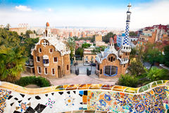 Colorful architecture in park Guell Royalty Free Stock Photos