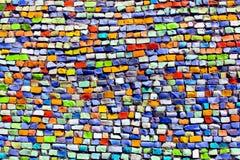 Colorful argile mosaic on the wall. Horizontal colorful argile mosaic on the wall Royalty Free Stock Photos