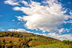 Colorful Ariege Pyrenees hills in fall and clouds Royalty Free Stock Photography