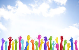 Colorful Arms Raised Volunteer Copy Space Happiness Concept Stock Photo
